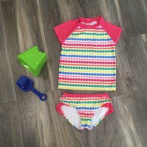 Gymboree Girls Size 5 Swim Suit Pink Polka Dot